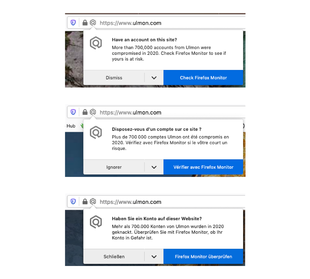 Examples of English, French, and German alerts that appear on sites where breaches have occurred.