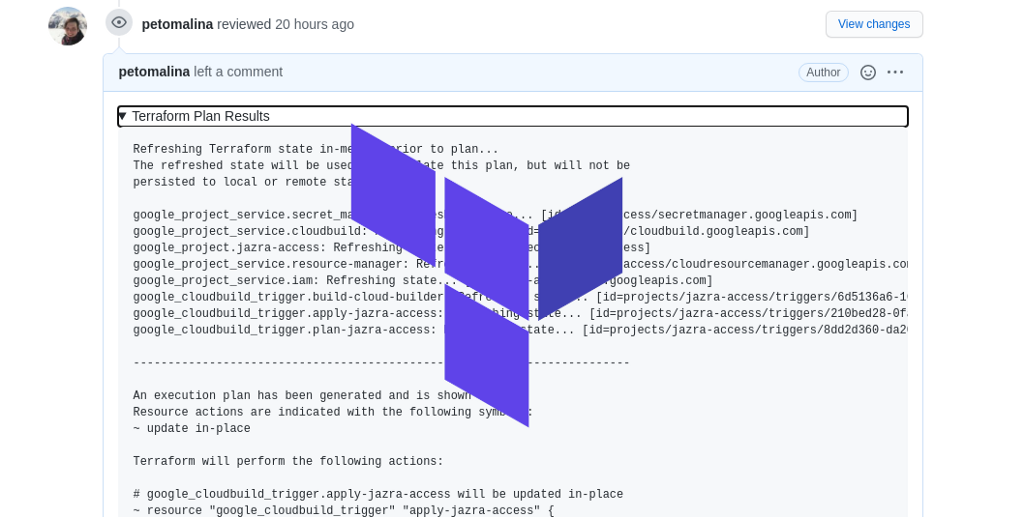 Terraform plan in Pull Requests with GCP Cloud Build