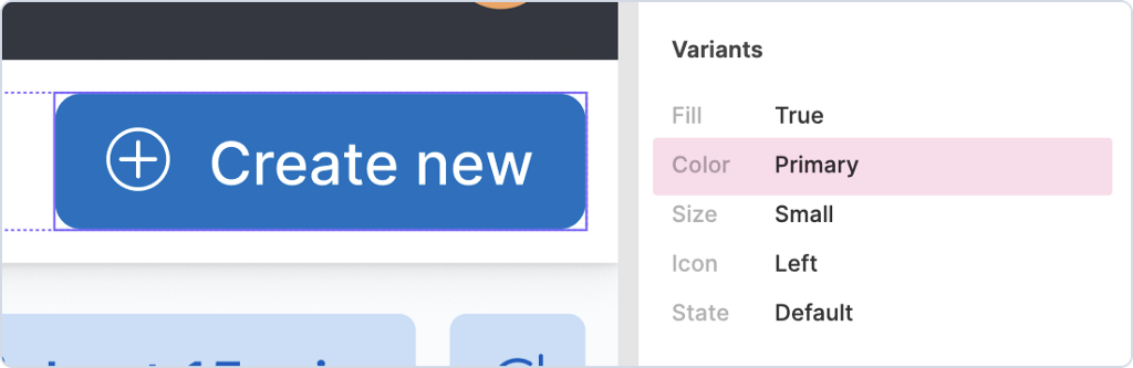 """A button component design is selected and its Color variant is highlighted with a value of """"Primary""""."""