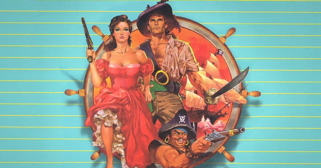 Cover art for Plundered Hearts, a painting of a woman in fancy red dress holding an long pistol, flanked by a dashing pirate captain.