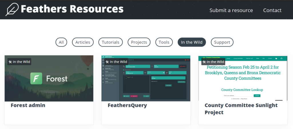 Screenshot of feathersresources.dev