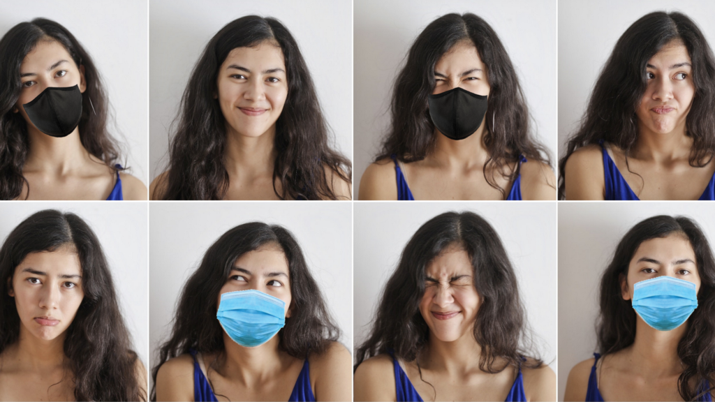 Several images of the same person with varying facial expressions with and without face masks.