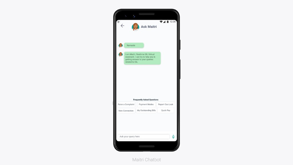 Maitri the helping chatbot chat window with FAQ's as radio buttons present