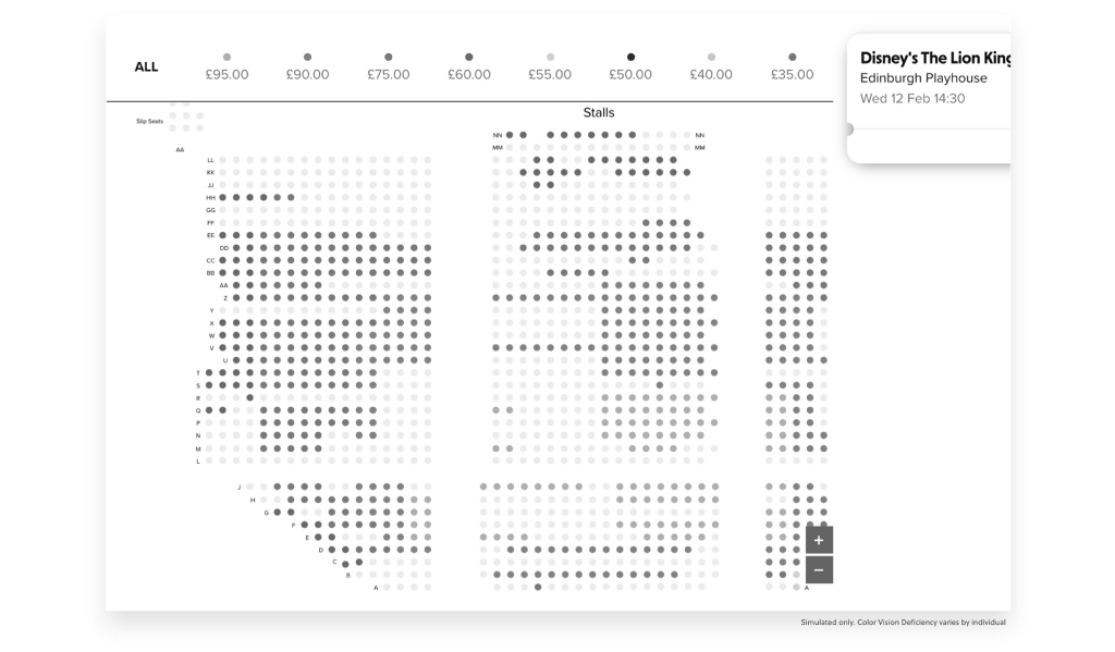 ATG's booking screen in color blind's vision