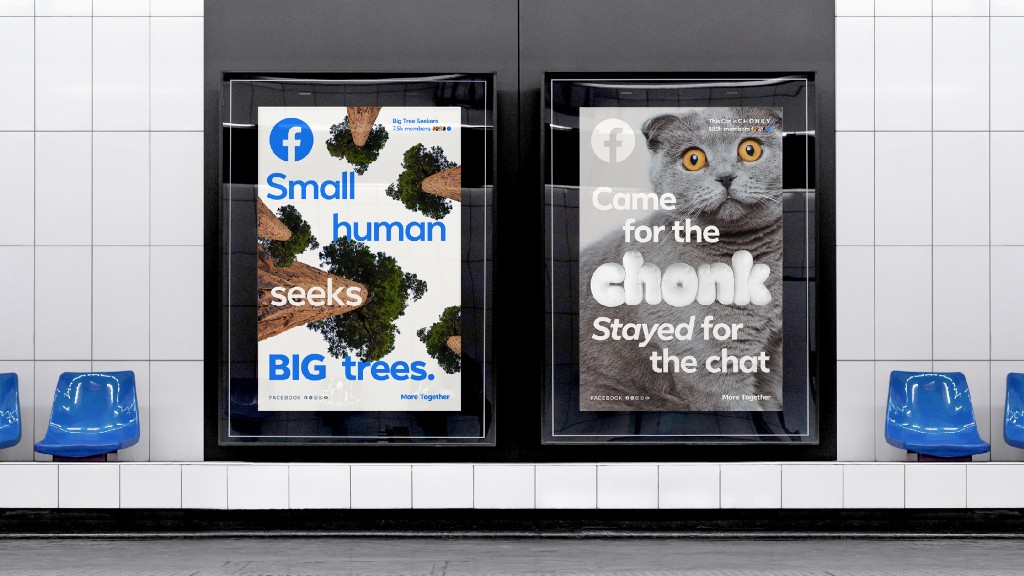 Two advertisements side-by-side in a subway station show the Facebook Sans font in different styles.