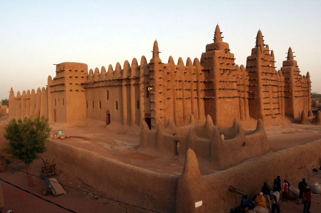 The Great Mosque of Djenné, in modern-day Mali — a reconstruction of the original, which was built in the 1200s