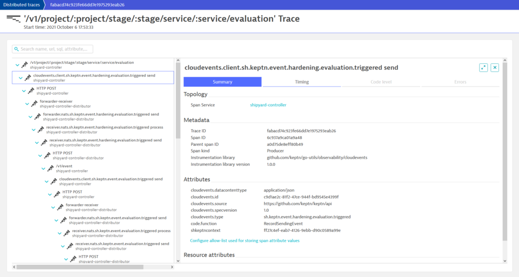 Summary and span attributes in Dynatrace