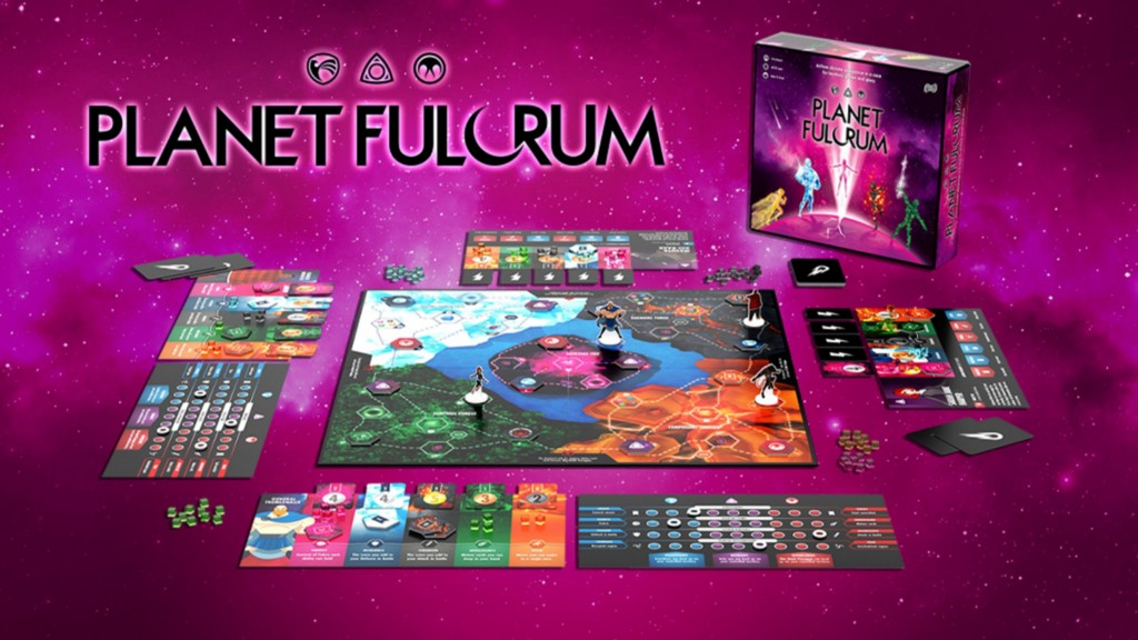 Full view of Planet Fulcrum board game, all pieces unboxed and laid out