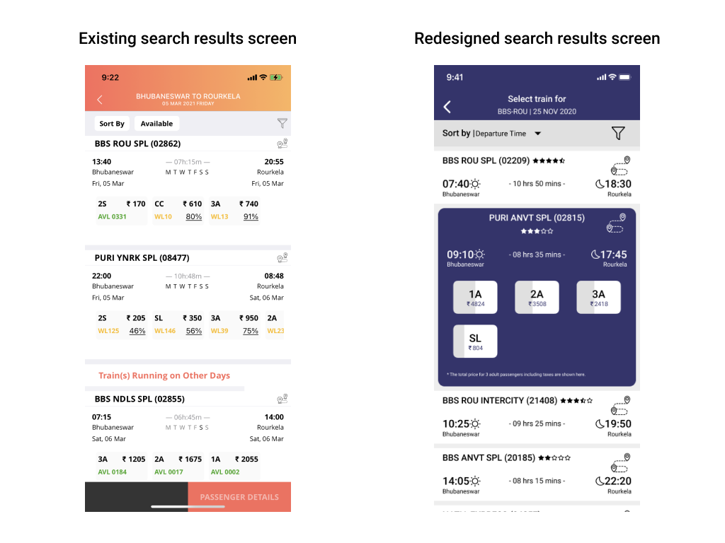Two mobile screens showing search results