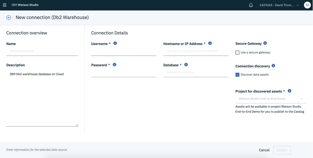 New connection to the Db2 Warehouse