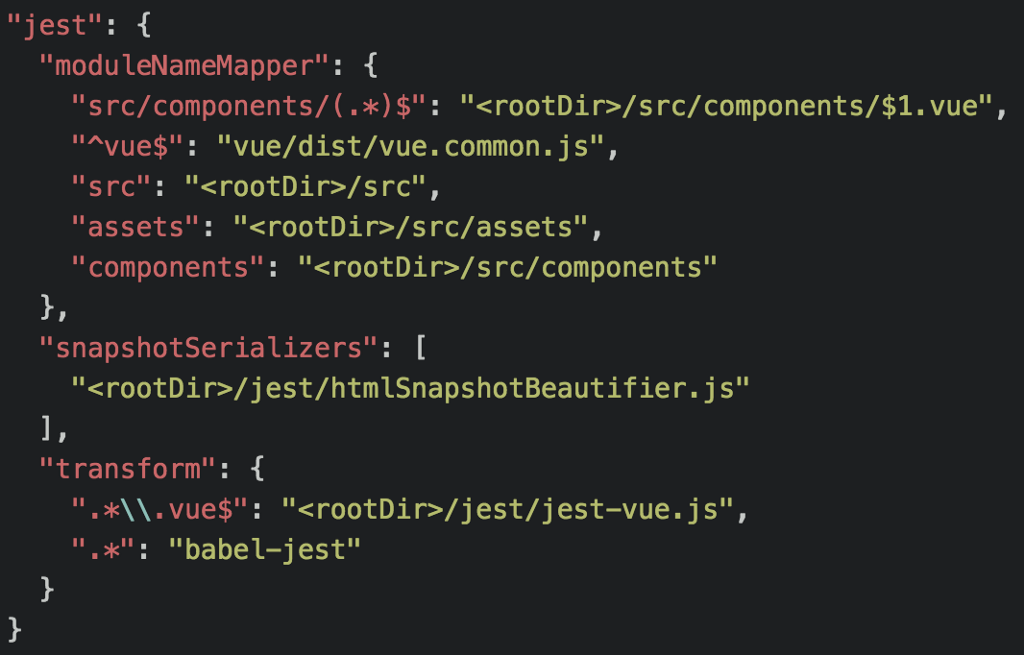 we can now add the snapshot serializer configuration to the jest section in the packagejson