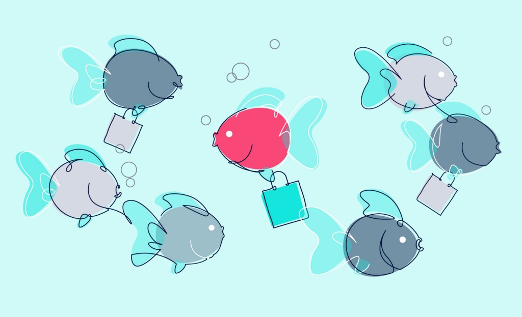 cartoon fish swimming with bags