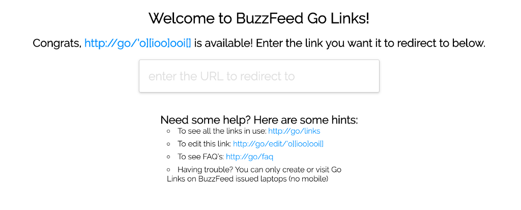 """Screenshot of BuzzFeed go links web interface, showing """"Welcome to BuzzFeed Go Links"""" and a URL box."""