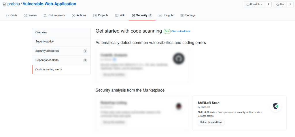 Adding ShiftLeft Scan with GitHub code scanning