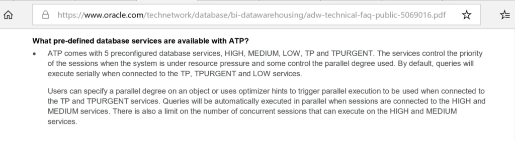Oracle ATP: MEDIUM and HIGH services are not for OLTP | www