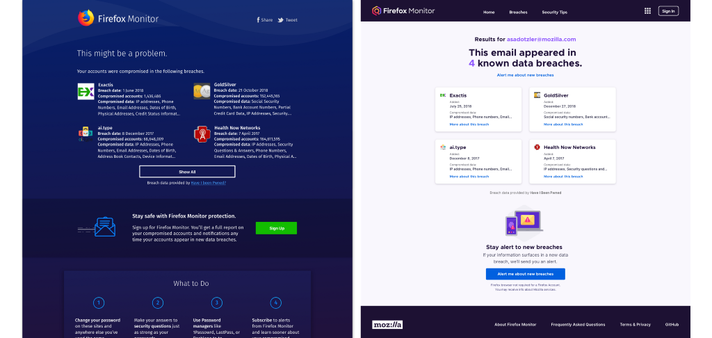 A side-by-side comparison of breach results before and after the redesign.