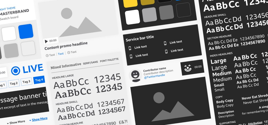 An overview of the design system, showing components, colour palettes and typography