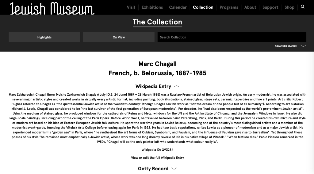 Screen grab of Marc Chagall's artist bio on the Jewish Museum's website.