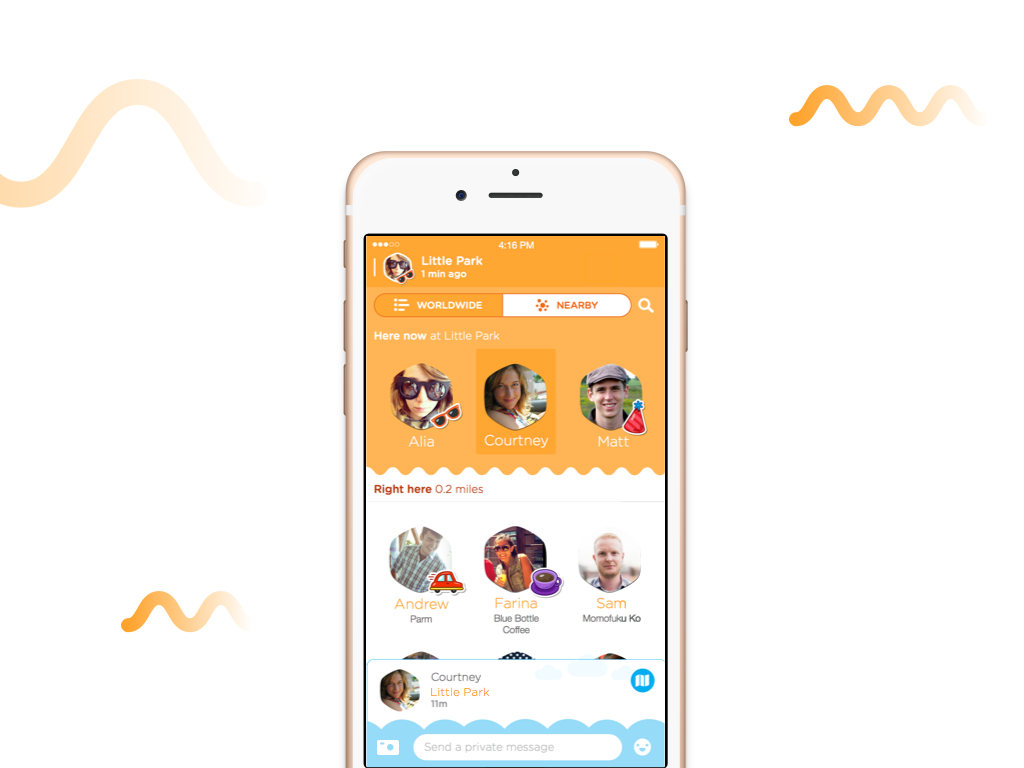 Swarm mobile app social feature