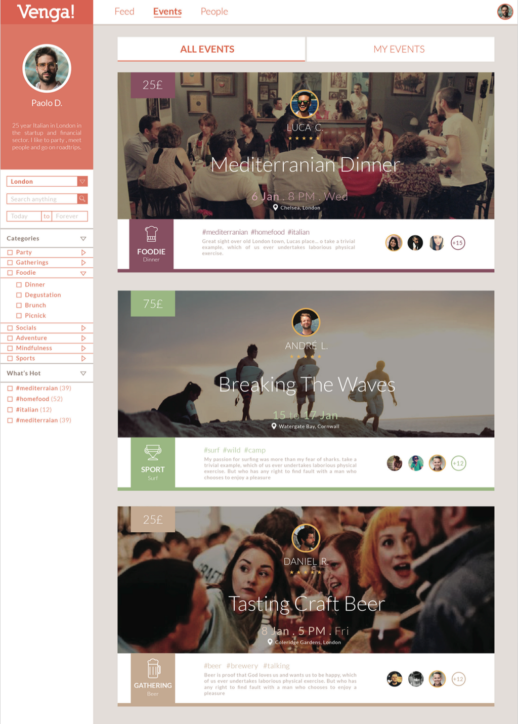Venga! Product Bible & UX/UI - Events Page 3