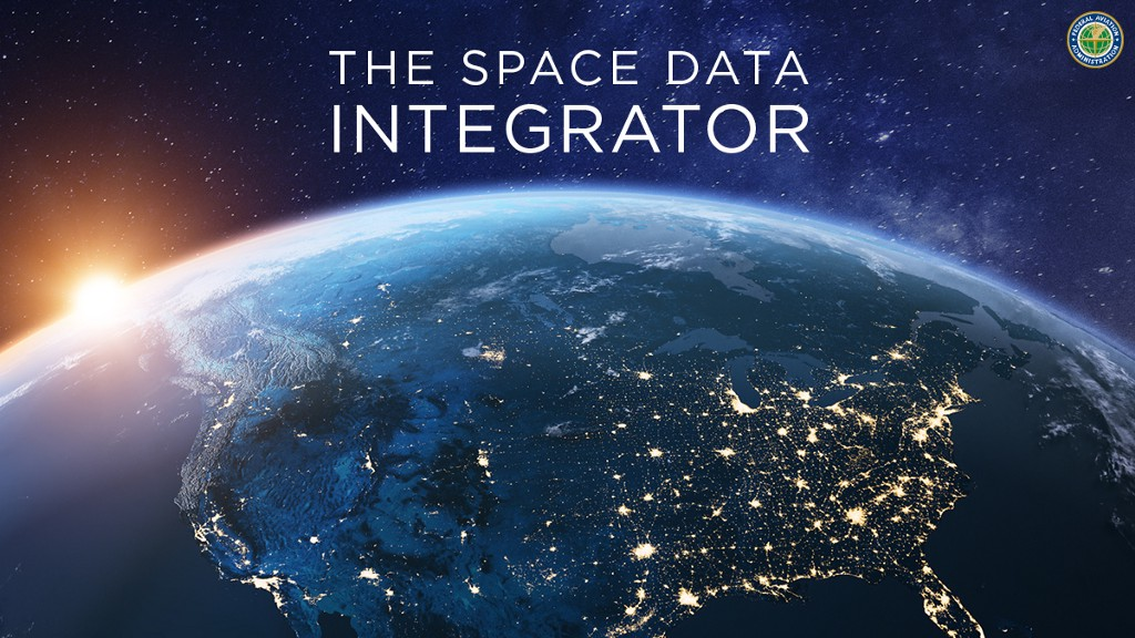 """A zoomed out image of Earth from space. Text on screen reads """"The Space Data Integrator."""""""