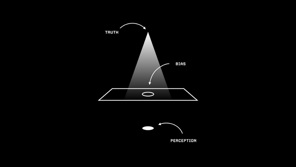 The image shows a diagram on black background, and uses the metaphor of light. Truth is shown as the origin point of light. There is a paper with a hole in the middle, which is labelled bias. The round spot of light is labelled perception.