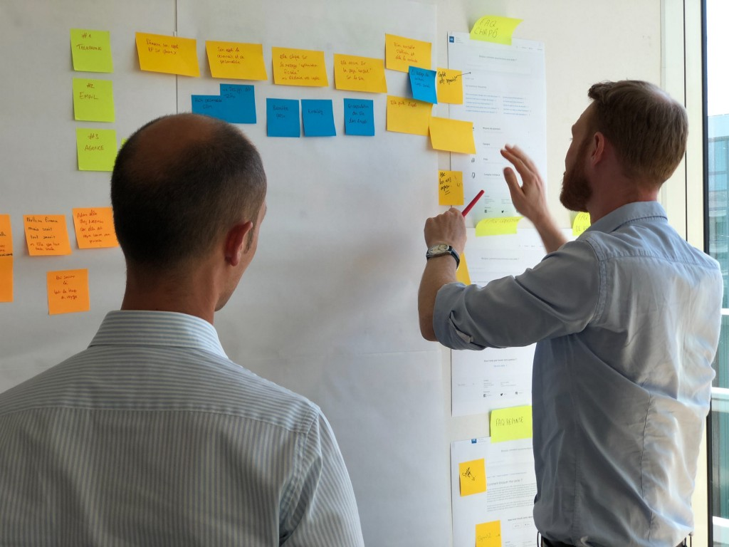 Two men working on a whiteboard full of Post-it notes