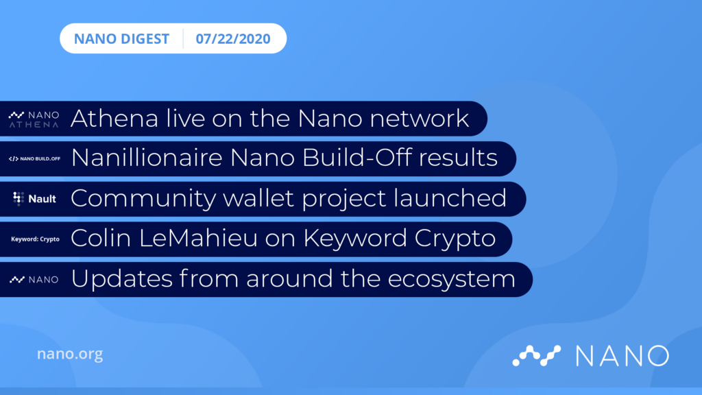 Nano Digest — Athena Update, New Services, and Nano Build-off Results