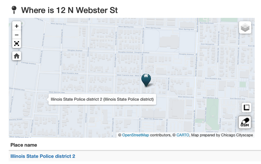 Screenshot of an Address Snapshot showing which ISP district the Naperville, Illinois, address is in.