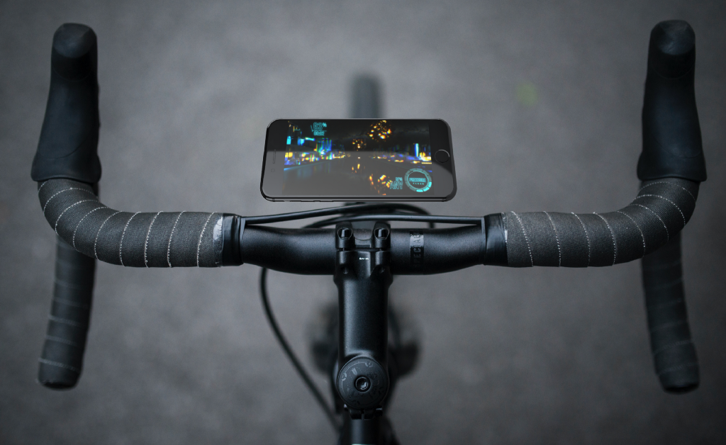 A iphone attached to a bicycle