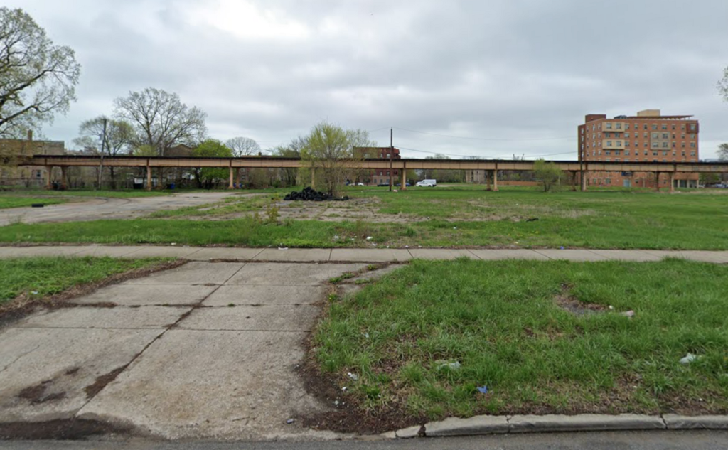 A street view image of 5211 S Prairie Ave, Chicago, which is a vacant lot.
