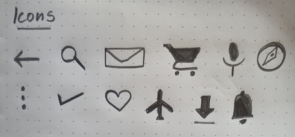 Common web and mobile icons—Back, search, email/message, shopping cart, microphone, compass, more, done/check, heart/like, flight mode, download, notification/bell icon