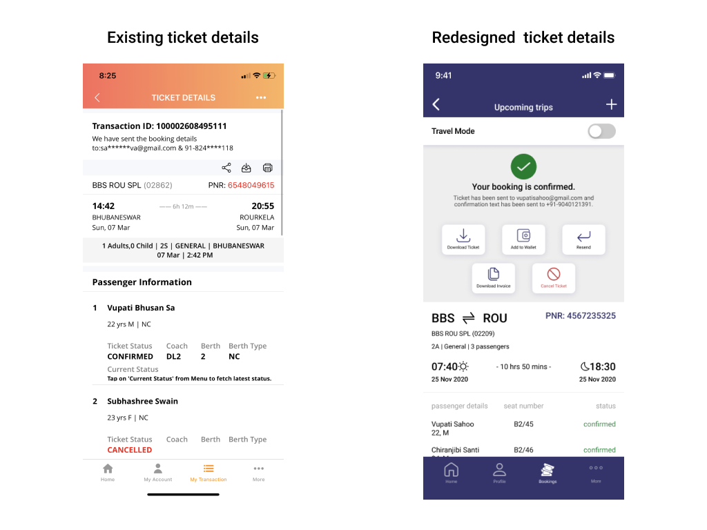Two mobile screens showing ticket details
