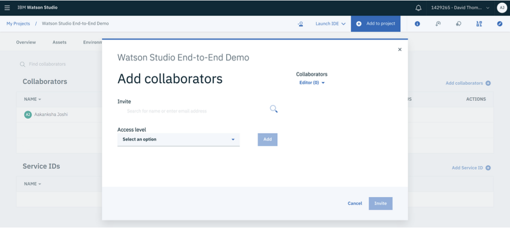 Adding team members to collaborate on the project