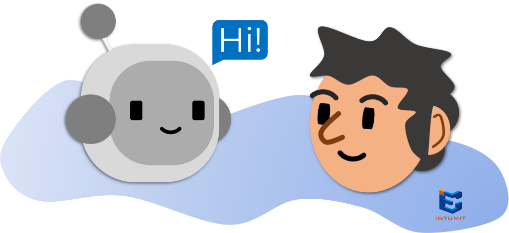 a picture of a robot or chatbot talking to a guy