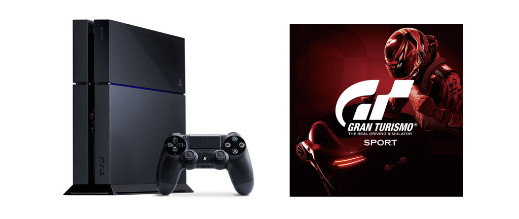 A playstation 4 and a copy of Gran Turismo, a racing game