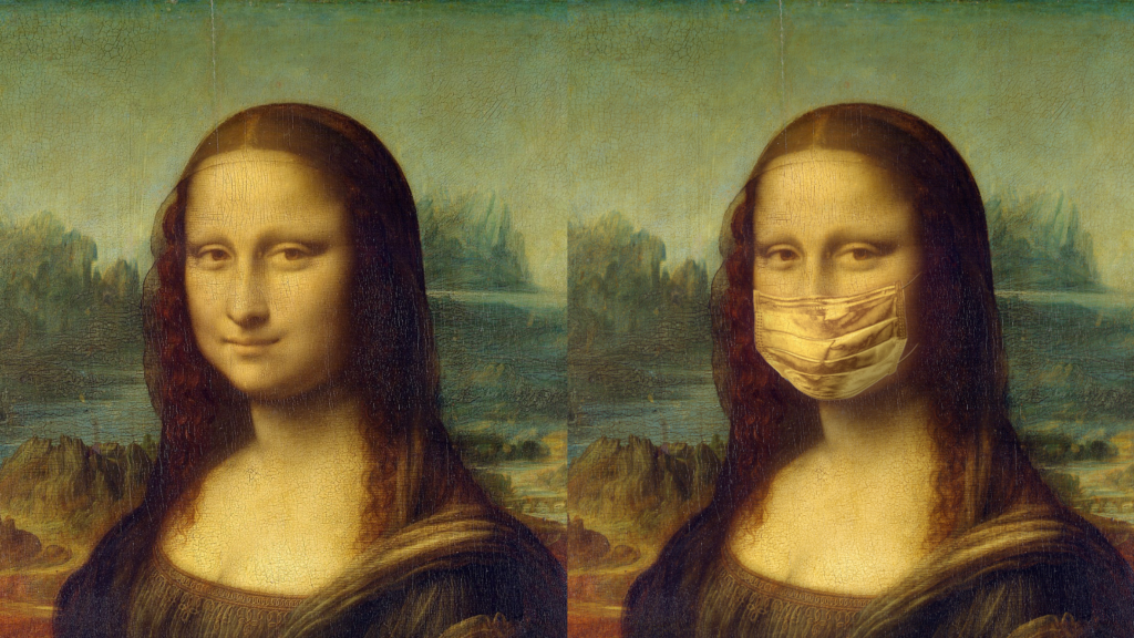 A picture of Mona Lisa with and without face mask to highlight the challenge of facial occlussions.