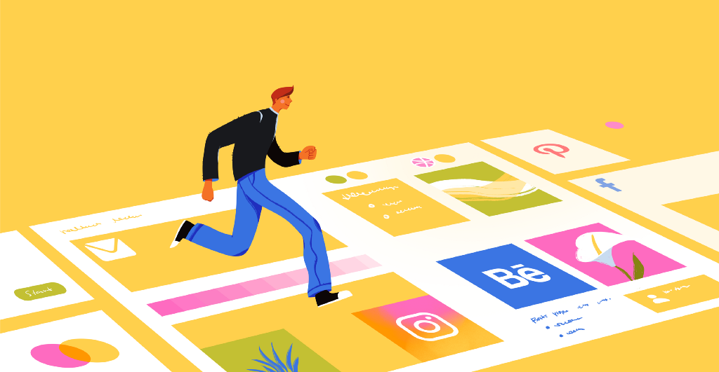 A drawn person jumps on squares that symbolize different websites.