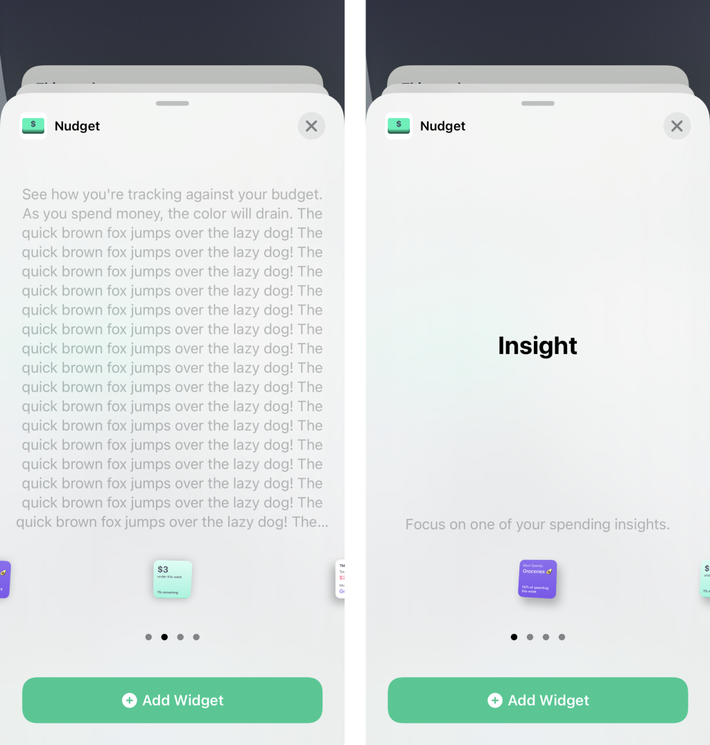 Image of two iOS testing widgets side-by-side, one with a long description and one with a short description.