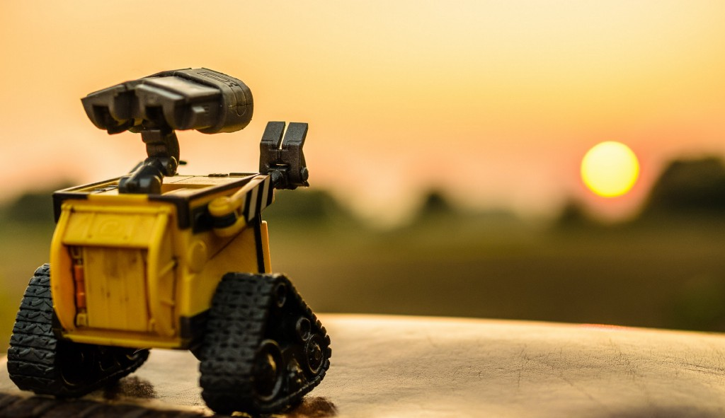 Yellow toy robot watching sunses in nature