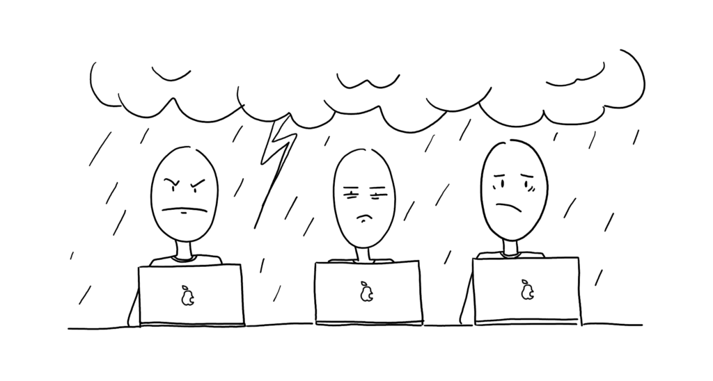Grumpy designers working on their devices in a thunderstorm