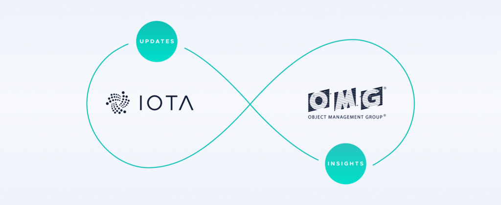 Image showing an infinite loop with IOTA and OMG; IOTA 'updates' while OMG has 'insights'
