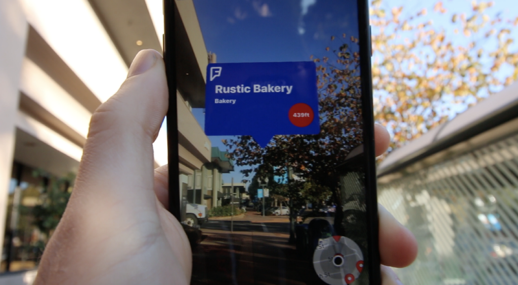 screenshot of Foursquare augmented reality (AR)
