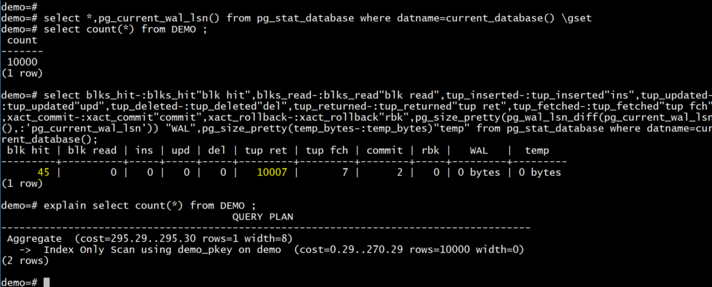 PostgreSQL: measuring query activity(WAL size generated, shared
