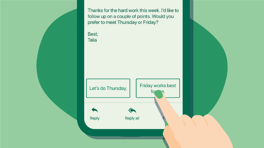 A phone user's finger selects an app's suggested response to an email that reads Friday works best for me.