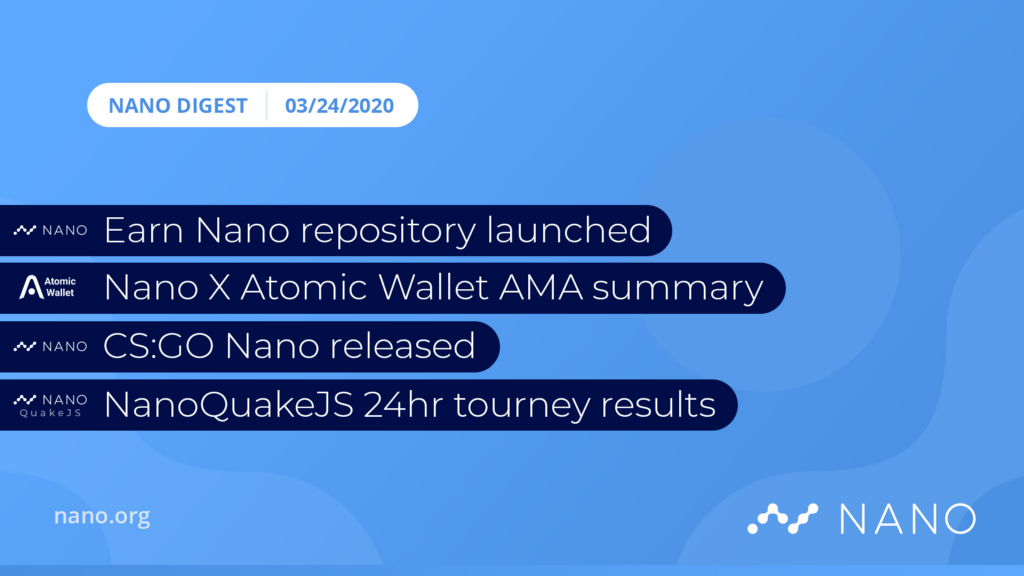 Nano Digest — Earn Nano, Counter-Strike: Go Nano, NanoQuake, Atomic Wallet AMA Summary