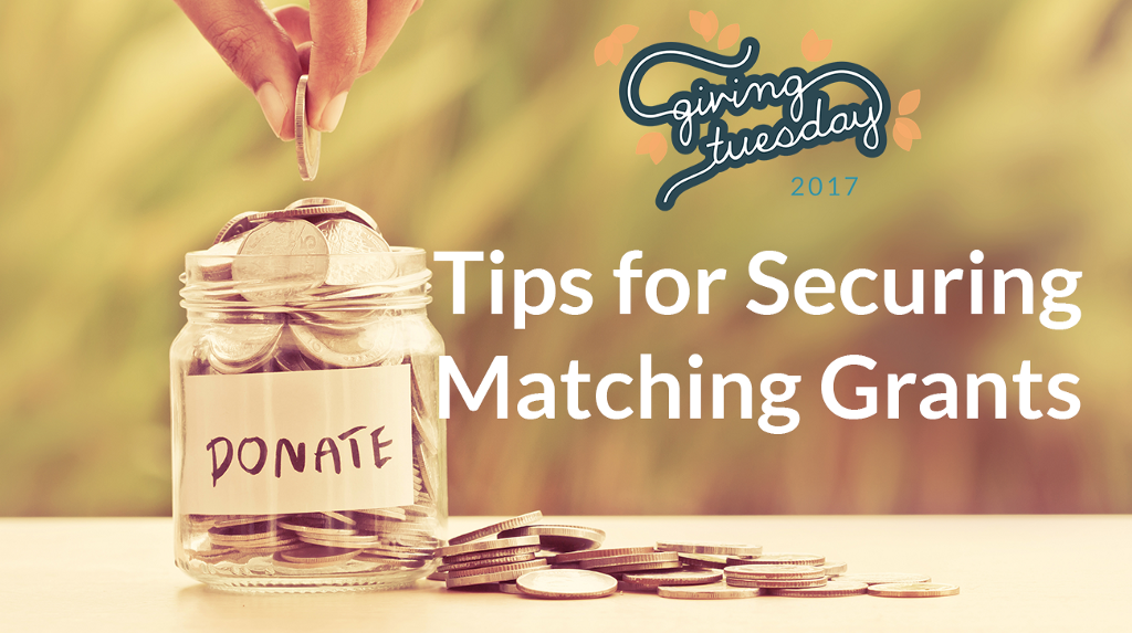 """Tips for Securing Matching Grants with image of woman putting a coin in a """"Donate"""" jar"""