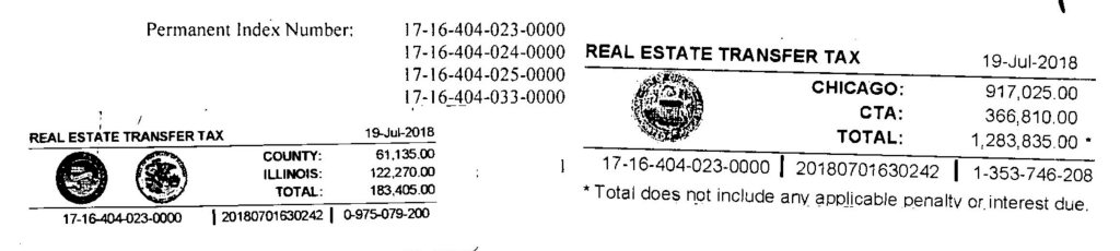 screenshot of a deed showing how much transfer tax was collected in the sale