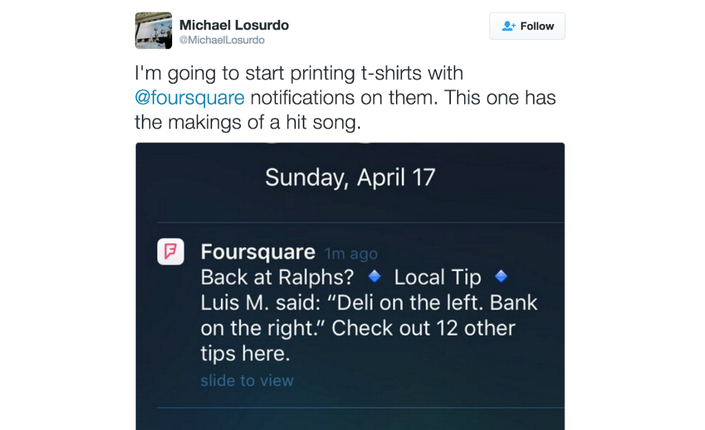 tweet about Foursquare notifications