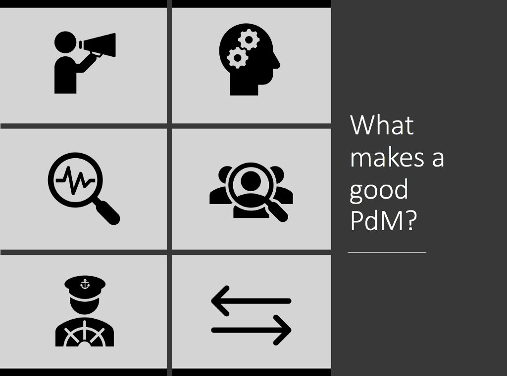 Graphic showing what makes a good product manager through icons.